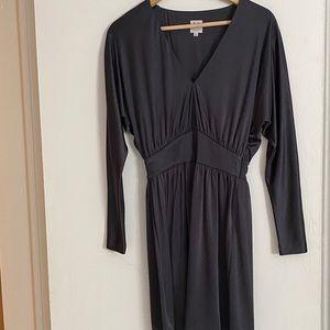 Halston Heritage shimmery gray long sleeve dress